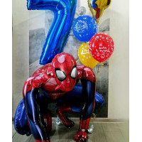 Композиция шаров на День Рождения с Человеком-пауком и цифрой