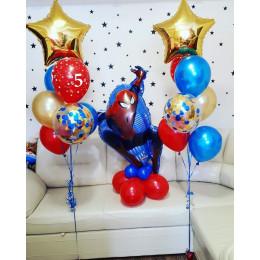 Композиция шаров с гелием на День Рождения с Человеком-пауком