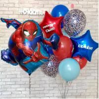 Сет шаров с Человеком-пауком и вашими поздравлениями
