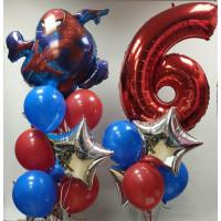 Композиция из шаров на День Рождения Человек-паук с цифрой
