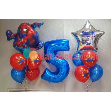 Композиция из воздушных шаров Человек-паук с цифрой и вашей надписью
