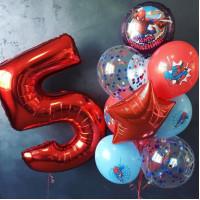 Сет воздушных шаров на День Рождения с Человеком-пауком и цифрой