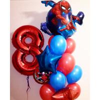 Сет шаров с гелием на День Рождения с цифрой и Человеком-пауком