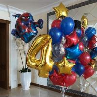 Композиция воздушных шаров на День Рождения с Человеком-пауком и цифрой