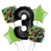 Сет шаров на День Рождения Черепашки-ниндзя с цифрой