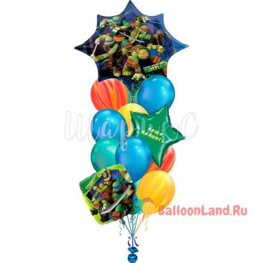 Букет шариков герои м/ф Черепашки Ниндзя с вашими поздравлениями