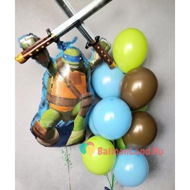 Композиция из гелиевых шаров с персонажем мультфильма Черепашки Ниндзя Леонардо
