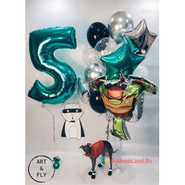 Композиция из гелевых шаров Рафаэль с цифрой со звездами и шарами с конфетти
