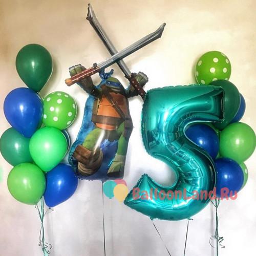 Композиция из воздушных шаров Черепашка Ниндзя Леонардо с ...