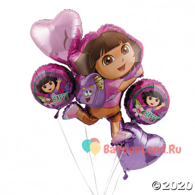 Букет шариков с Дашей путешественницей и сердцами