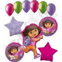 Букет гелевых шариков с Дашей путешественницей и звездами