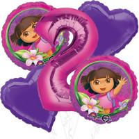 Набор шаров с гелием на День Рождения Даша Путешественница с цифрой