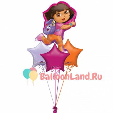 Букет шариков с гелием Даша в сказочной стране со звездами