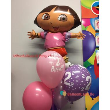 Букет воздушных шаров с персонажем м/ф Дашей путешественницей