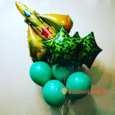Букет из воздушных шариков с истребителем и камуфляжными звездами