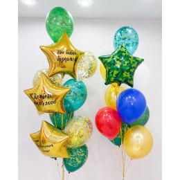 Композиция из шариков из двух фонтанов со звездами на дембель