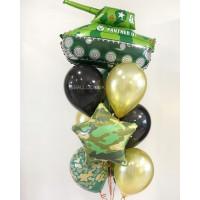 Букет шаров с гелием с танком и звездой хаки