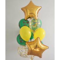 Букет из воздушных шариков с золотыми звездами солдату