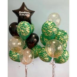 Композиция из шариков из двух букетов хаки с черной звездой ДМБ