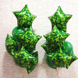 Композиция из гелиевых шаров со звездами милитари