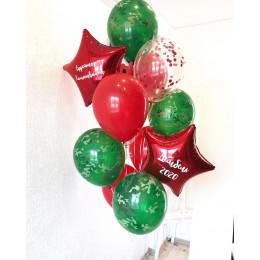 Букет из шаров дембелю с красными звездами