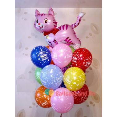 Букет гелиевых шаров на День Рождения с кошечкой