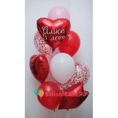 Букет шаров на День Рождения с вашими поздравлениями в красных тонах