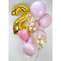 Набор воздушных шаров на День Рождения с цифрой, розовые и золотые