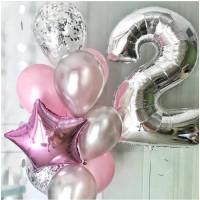 Сет гелиевых шаров на День Рождения с цифрой, розовые и серебряные