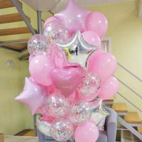 Облако воздушных шаров на День Рождения с вашим поздравлением