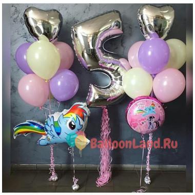 Композиция из воздушных шаров с пони на День Рождения с цифрой