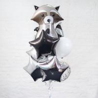 Букет гелиевых шаров на День Рождения с енотиком