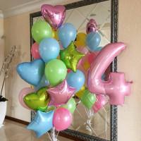 Набор разноцветных шаров с гелием на День Рождения с цифрой