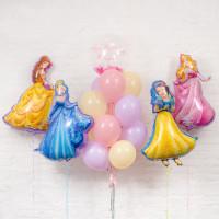 Набор шаров на День Рождения с принцессами и вашей надписью