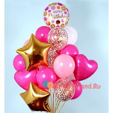 Букет шаров на День рождения с сердцами и звёздами