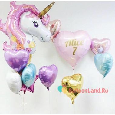 Набор воздушных шаров на День Рождения с единорогом и вашими поздравлениями