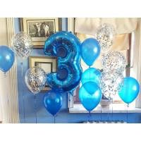 Сет шаров с гелием на День Рождения с цифрой