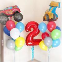 Композиция шаров на День Рождения с цифрой и машинками