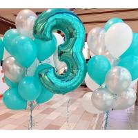 Сет воздушных шаров на День Рождения с цифрой в серебристо-бирюзовой гамме