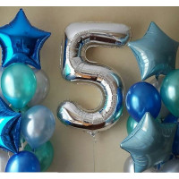 Композиция из шаров с гелием на День Рождения с цифрой
