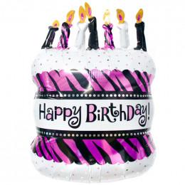 Фигурный шар Праздничный Торт со свечами (розовый)