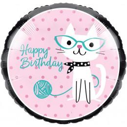 Шар-круг Happy Birthday (кошка в очках)