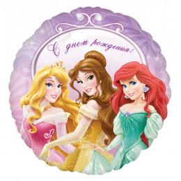 Шар-круг С днем рождения (принцессы)