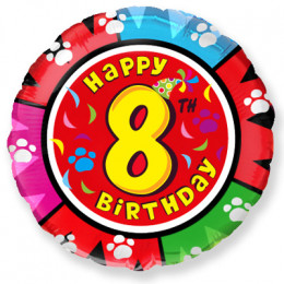 Шар-круг Happy Birthday 8