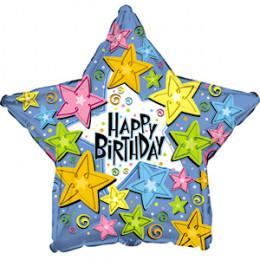 Шар-звезда Happy Birthday ( со звездами)