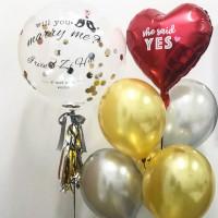 Композиция из шаров на девичник с большим шаром с конфетти, сердцем и вашими поздравлениями