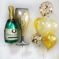 Композиция из воздушных шаров на девичник с бутылкой и бокалом шампанского
