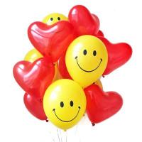 Воздушные шары Смайл с сердцами - дополнительное фото #1