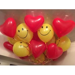 Воздушные шары Смайл с сердцами - дополнительное фото #2