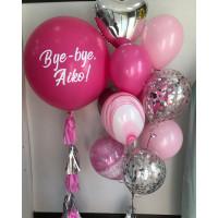 Сет из гелиевых шаров на девичник с большим розовым шаром Bye-Bye